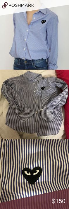 Comme Des Garçons Button Down Worn once, I ripped the tag out of the neck because it itched but I still have it if you want to sew it back on. Purchased from Barney's Comme des Garcons Tops Button Down Shirts