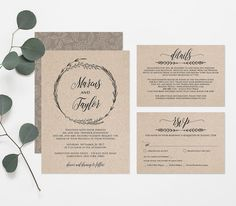 Printable Wedding Invitation Template, Rustic Wreath Wedding Invite, RSVP & Detail Card, Instant Download, Editable Text. PDF File #022A