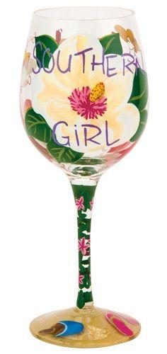 """""""Southern Girl"""" Wine Glass by Lolita (Hula Island)"""