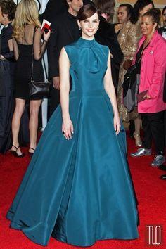 Felicity Jones in Christian Dior (2015 Golden Globe Awards)