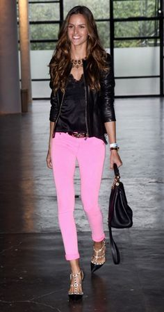 Alessandra Ambrosio in pink jeans/ black leather - adore!
