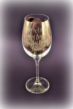 Personalised retirement wine glass hand engraved by CoveCalligraphy on Etsy