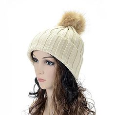 FSLESI Women's Pom Knit Cuffed Winter Beanie Ski Hat Cap Fur Ball