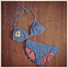 Deadstock 1970s denim + gingham lined BIKINI with calico patches, American made Union tagged- just listed!