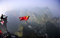 Wingsuit flying over China