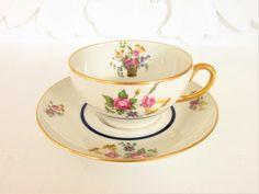 Vintage Limoges Elite France Porcelain Teacup Flower Basket Floral 1920 - 1932