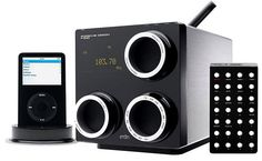 The Porsche Design P'9120 is a table top stereo system with iPod dock and radio. It has a clean, linear shaped design with superior acoustics and powerful subwoofer.