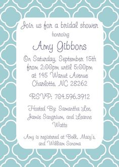 Blue and White Bridal Shower Invite