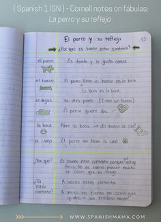 A peek into our Spanish Interactive Notebooks: cornell notes on a fable we read. .Section 2: Class Content