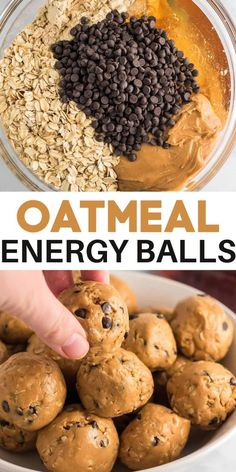 Oatmeal Energy Bites, Peanut Butter Energy Bites, No Bake Energy Bites, Energy Balls, Fun Baking Recipes, Healthy Baking, Cooking Recipes, Snack Recipes, Dinner Recipes