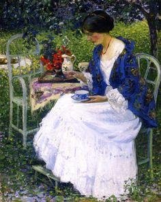 Tea in the Garden ~ Richard Edward Miller ~ (American : 1875-1943)