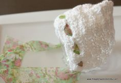 Pixie Hat Newborn Infant Baby Girl Bow Ribbon Photo Prop Baby Shower Gift Soft Shell Stitch Crochet White Flower Ribbon by The Patchwork Nest