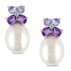 diamonds, pearls and gemstones as jewelry | Miadora Silver Pearl, Multi-gemstone and Diamond Earrings (8-8.5 mm ... #diamondearings