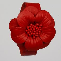 Red Leather Flower Bracelet  Leather Bracelet Leather by LeatherAX