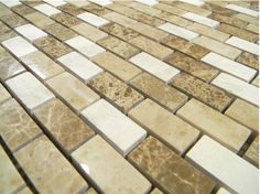 Chateau Blend Polish Mixed Mosaics Polo Brown, Chateau Marble, French Vanilla 1x2 Brick. | www.glasstilehome.com