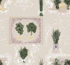 Látka bavlnená TRADITIONAL ROMARIN, francúzska, bavlna, bylinky nostalgický provensálsky motív byliniek, prírodný materiál 100 % bavlna, France