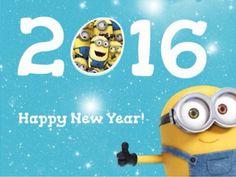 Happy new year 2016¡ minions, feliz año nuevo 2016