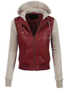 I cannot explain hoe much i love this jacket!!  LE3NO Womens Faux Leather Moto Bomber Jacket with Fleece Hoodie