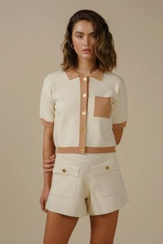 INES SHORTS - IVORY A Line Shorts, Collar Top, Lounge Wear, Dress Skirt, Button Up, Knitwear, Short Dresses, Ivory, Skirts