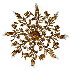 Hollywood Regency Gold Gilded Flush Mounts or Sconce by Cian | From a unique collection of antique and modern flush mount at https://www.1stdibs.com/furniture/lighting/flush-mount-ceiling-lights/