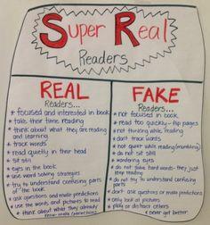 literacy anchor charts | Reading Anchor Charts / real and fake readers