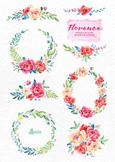 Florence. Watercolor Bouquets and Wreaths hand by OctopusArtis