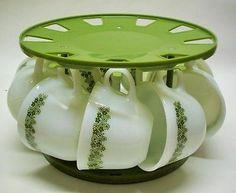 9 Pyrex Crazy Daisy Spring Blossom Milk Glass Coffee Cups Corning Corelle BONUS