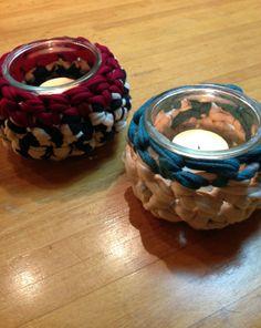 #Portavelas de trapillo. #Crochet candle holder