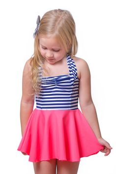 eloise in tropical punch #reyswimwear #reyswimwearlittles #swimdress #toddlerswimdress #modestswimsuit