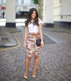 Floral skirt, tee shirt and nude heels