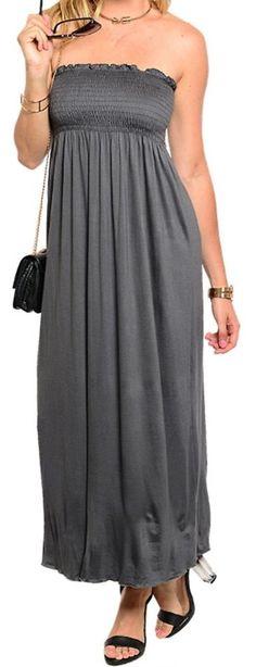 Cute Maxi Long Dress Strapless Stretch Jersey Knit Casual Dress Sz  2 4 6 8 #Fashion #style #Dresses #Beach