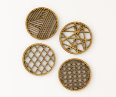 "Set of 4 ""Geometric"" Coasters, made from 3-ply Bamboo. Measure approximately 3.6 x 3.6 inches, 1/4 inch thick. All Light & Paper lasercut designs are created from original hand-cut papercuttings."