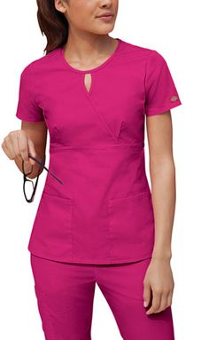 """About This Product  Original Junior Fit keyhole mock wrap top features an empire waist and bust darts. Patch pockets and side vents. Center back length: 25 1/2"""".  Fabric: 65 Poly / 35 Cotton Poplin $12.99 #scrubs #nurses #nationalnursesweek #sale #dickies"""