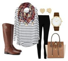 Stripes & Plaid by taraaucoin on Polyvore featuring Max Studio, Tory Burch, Michael Kors, Larsson & Jennings and Kate Spade