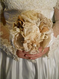 Beautiful Victorian Bridal Bouquet, handmade of vintage fabrics and lace $49.95