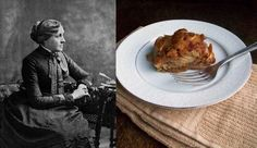 Louisa May Alcott: Apple Slump recipe via Paper & Salt Louisa May Alcott, Looks Yummy, The Dish, No Bake Desserts, Coffee Cake, Favorite Recipes, Snacks, Header, Nathaniel Hawthorne