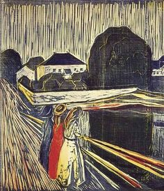 Edvard Munch (Norwegian, 1863-1944): The Girls on the Bridge, 1918. Woodcut.