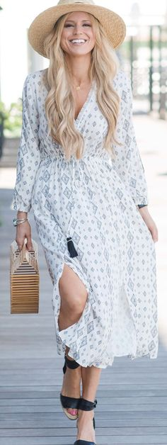 #cute #outfits  Light Hat / White Printed Maxi Dress / Black Sandals / Wood Clutch