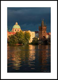 Framed fine art photography - Monastery of the Knights of the Cross with a Red Star and Old Town Bridge Tower, Prague, Czech Republic. Photo: Josef Fojtik - www.joseffojtik.com - https://www.facebook.com/Fineartphotoprints