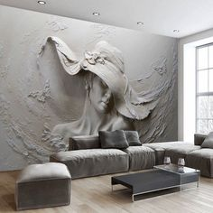 Custom Wallpaper Stereoscopic Embossed Wallpaper Gray - Wallpaper World Wallpaper World, Floor Wallpaper, Grey Wallpaper, Custom Wallpaper, Photo Wallpaper, Bedroom Wallpaper, Bedroom Tv, Wallpaper Gallery, Print Wallpaper
