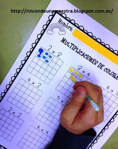 He visto muchas ideas en Pinterest para trabajar las tablas de multiplicar y como estamos empezando de lleno con ellas, no he dudado en llev... Teaching Tools, Teaching Math, Waldorf Math, Line Math, Montessori Math, Primary Maths, Reading Intervention, Kids Learning Activities, Math Class