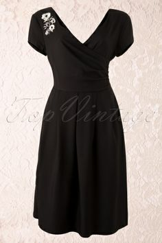 Collectif Clothing - 40s Phyllis Doll Dress Black