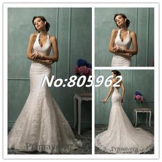 Find More Wedding Dresses Information about Noble 2014 Mermaid Halter Appliques Long Wedding Dresses Lace Strapless Sleeveless Open Back Bridal Gown Custom made SD35,High Quality Wedding Dresses from Suzhou Romantic Wedding Dress Co. Ltd on Aliexpress.com