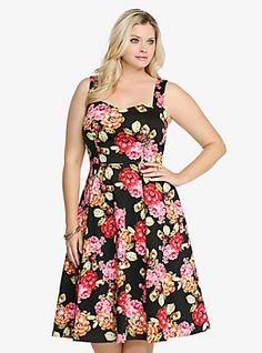 Floral Cotton Sateen Swing Dress, CONVERGING FLORAL
