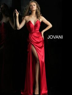 Red High Slit Strapless Plunging Neck Prom Dress 60168 the drape of the skirt, wish I could get away with the top Fitted Prom Dresses, Strapless Prom Dresses, V Neck Prom Dresses, Jovani Dresses, Satin Dresses, Formal Dresses, Red Satin Prom Dress, Formal Wear, Trumpet Dress