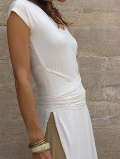 White TIBETAN wrap TUNIC-Womens wrap top short /midi length sleeves-Womens wrap tunic-Made to order-Pick your color