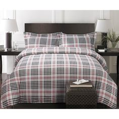 Plaid Luxury 3-piece Printed Flannel Duvet Cover Set - Overstock™ Shopping - Great Deals on Duvet Covers