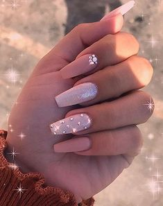 In seek out some nail designs and some ideas for your nails? Here's our listing of must-try coffin acrylic nails for modern women. Pink Acrylic Nails, Acrylic Nail Designs, Diamond Nail Designs, Acrylic Nails With Design, Nail Designs Bling, Nail Pink, Pastel Nails, Nail Polish Designs, Aycrlic Nails