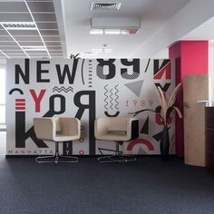 Abstract New York City Wall Mural – Modern Corporate Office Design Office Wall Graphics, Office Wall Decals, Office Mural, Office Walls, Corporate Office Design, Home Office Design, Custom Wall Murals, Removable Wall Murals, Mural Wall