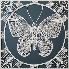 """UK-based artist Pippa Dyrlaga creates incredibly detailed artworks out of paper. """"Each piece is cut from a single sheet of paper and is infused with… Paper Cutting, Cut Paper, Papercut Art, Harper's Bazaar, Paper Artwork, 3d Prints, Kirigami, String Art, Screen Printing"""